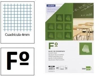 Bloc examenes liderpapel 4mm folio 40 hojas 60g/m2