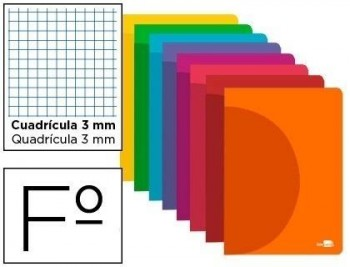 Libreta liderpapel 360 tapa de plastico a4 48 hojas 90g/m2 cuadro 3 mm con margen colores surtidos