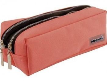 Bolso escolar liderpapel portatodo rectangular 2 bolsillos rosa pastel 185x55x70 mm