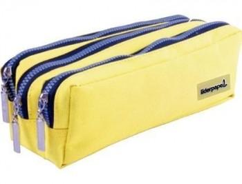 Bolso escolar liderpapel portatodo rectangular 3 bolsillos amarillo pastel 185x55x70 mm