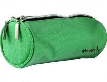 Bolso escolar liderpapel portatodo cilindrico con 2 cremalleras de nylon verde 205x75x75 mm