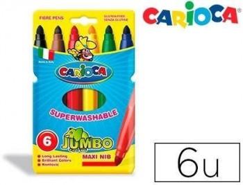ROTULADOR CARIOCA JUMBO C/6 COLORES -PUNTA GRUESA