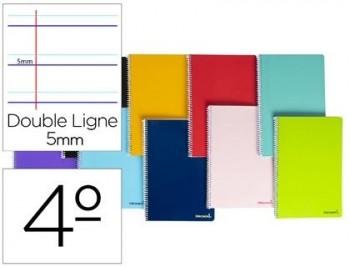 Cuaderno espiral liderpapel cuarto smart tapa blanda 80h 60gr rayado montessori 5mm colores surtidos