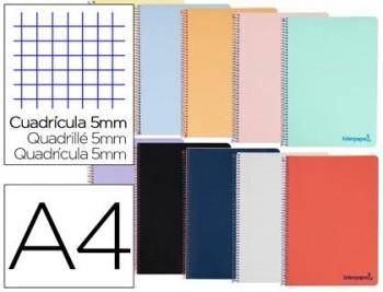 Cuaderno espiral liderpapel a4 micro wonder tapa plastico 120h 90 gr cuadro 5 mm 5 banda4 taladros c