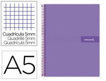 Cuaderno espiral liderpapel a5 micro crafty tapa forrada 120h 90 gr cuadro 5mm 5 bandas6 taladros co