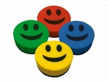 Borrador liderpapel pizarra blanca redondo 5 cm diametro magnetico cara smiley colores surtidos
