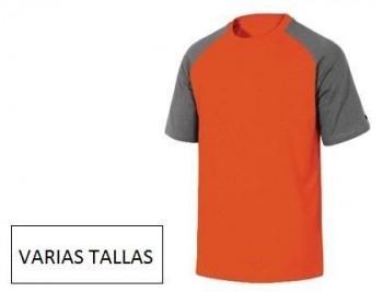 Camiseta de algodon deltaplus color gris NARANJA