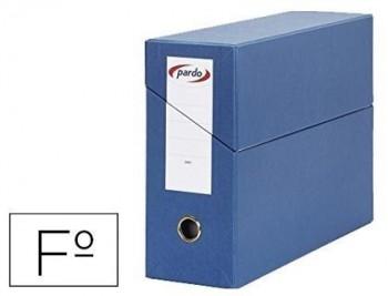 Caja transferencia pardo T/Folio forrado extra doble lomo 80 mm estuche interior con tarjetero VARIO