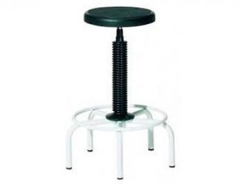 Taburete rocada estructura metalica regulable en altura asiento en pvc negro con base de 5 pies altu