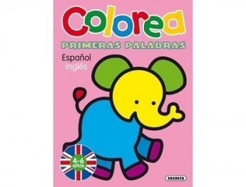 Cuaderno de colorear susaeta colorea primeras palabras español-ingles 12 paginas 19,5x27 cm