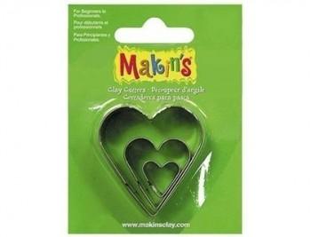 Cortador pasta modelar corazon blister de 3 piezas diferentes tamaños