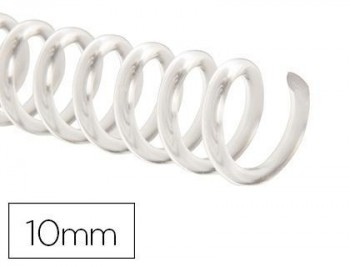 Espiral plastico q-connect transparente 32 5:1 10mm 1,8mm caja de 100 unidades
