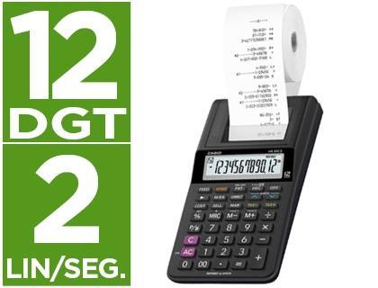 Calculadora casio impresora pantalla lc papel 58mm hr-8rce12 digitos ac/dc pilas color negro.