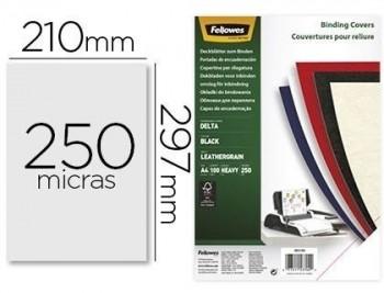 Tapa de encuadernacion fellowes din a4 carton similpiel cuero negro delta 250 gr pack de 100 unidade
