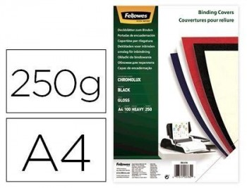 Tapa de encuadernacion fellowes din a4 carton brillo negro chromolux 250 gr pack de 100 unidades