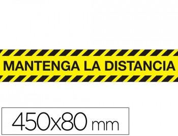 CINTA ADHESIVA DE SEÑALIZACIÓN 'MANTENGA LA DISTANCIA DE SEGURIDAD' PVC 165MC MEDIDAS BANDA 450X80MM