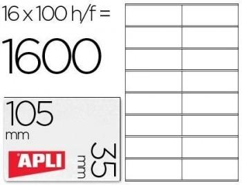 Etiqueta adhesiva apli 1287 tamaño 105x35 mm fotocopiadora laser ink-jet caja con 100 hojas din a4