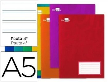 Libreta liderpapel write a5 16 hojas 60g/m2cuadro pauta 4ª 3.5mm con margen
