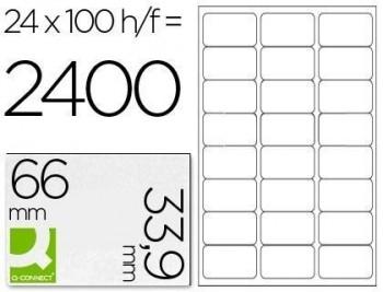 Etiqueta adhesiva q-connect kf10639 tamaño 66x33,9 mm fotocopiadora laser ink-jet caja con 100 hojas
