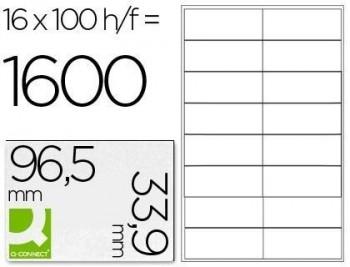 Etiqueta adhesiva q-connect kf10651 tamaño 96,5x33,9 mm fotocopiadora laser ink-jet caja con 100 hoj