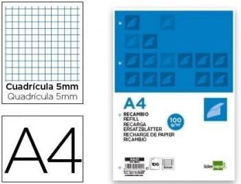 Recambio liderpapel a4 100 hojas 100g/m2 cuadro 5mm con margen 4 taladros