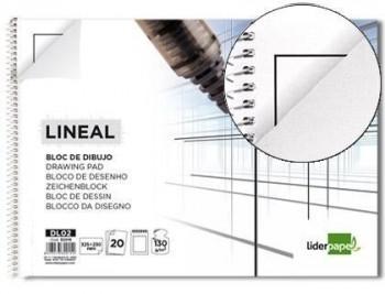 Bloc dibujo liderpapel lineal espiral  20 hojas 130g/m2 con recuadro T/Folio