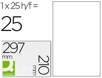 Etiqueta adhesiva q-connect kf00228 -tamaño din a4 -para ink-jet -transparente -caja con 25 hojas di