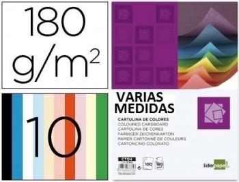 Cartulina liderpapel 180g/m2 10 colores surtidos paquete de 100 VARIAS MEDIDAS