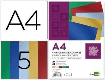 Cartulina liderpapel a4 235 g/m2 metalizada 5 colores surtidos paquete de 50