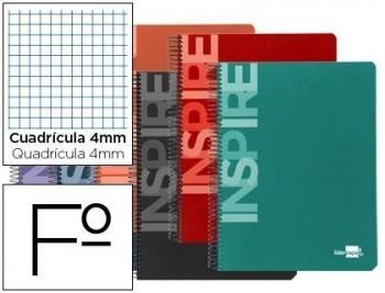 Cuaderno espiral liderpapel folio inspire tapa dura 160h 60 gr cuadro 4mm conmargen colores surtidos