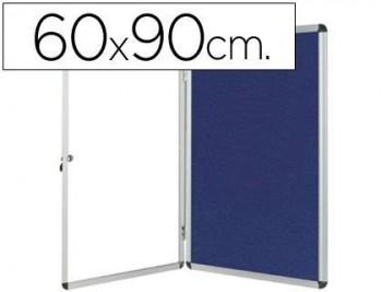 Vitrina de anuncios q-connect mural pequeña fieltro azul con puerta y marco con cerradura VARIAS MED