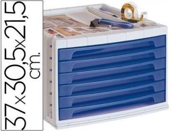 Fichero cajones de sobremesa q-connect 37x30,5x21,5 cm bandeja organizadora superior 6 cajones azul