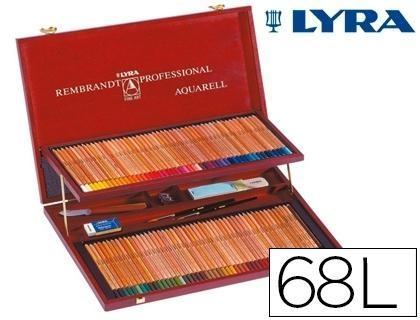Lapices de colores lyra rembrandt polycolor estuche madera 68 colores+lapices especiales+goma +cuchi