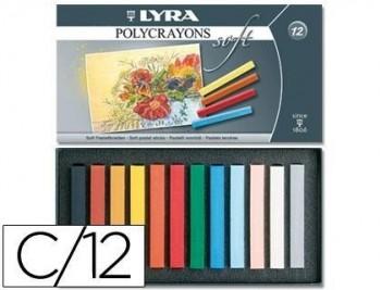 Tiza pastel lyra estuche carton de 12 unidades colores surtidos