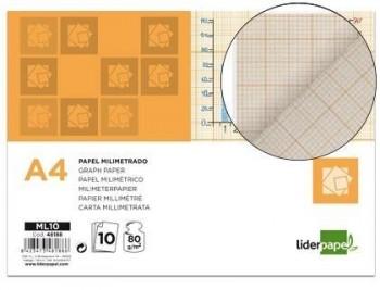 Papel dibujo liderpapel 210x297mm 80g/m2 milimetrado pack de 10