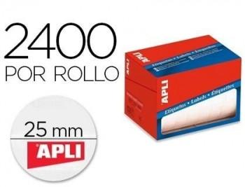 Etiqueta adhesiva apli 1674 tamaño 25 mm redondas en rollo de 2400 unidades