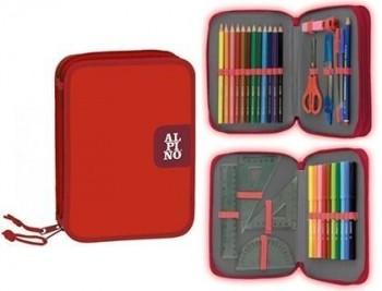 Plumier escolar alpino pequeño doble cremallera rojo 33 piezas