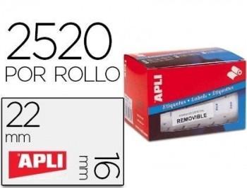 Etiqueta adhesiva apli 10087 tamaño 16x22 mm removible pvp euro rollo de 2520 etiquetas