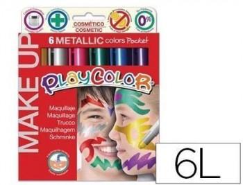 Barra de maquillaje playcolor make up metallic caja de 6 colores surtidos