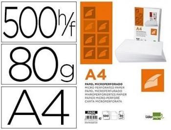 Papel liderpapel a4 80g/m2 paquete de 500 hojas blanco microperforado en dos partes iguales