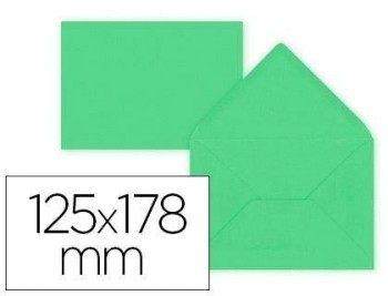 Sobre liderpapel b6 verde 125x178 mm 80gr pack de 15 unidades