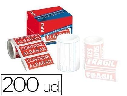 "Etiquetas APLI  50x100 mm rollo con 200 unidades"" VARIOS TEXTOS"""