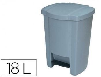 Papelera contenedor q-connect plastico con tapadera y pedal 18l 440x330x290 mm