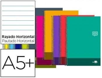 Cuaderno espiral liderpapel cuarto discover tapa blanda 80h 80 gr rayado horizontal con margen color