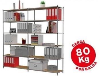 Estanteria fast-paperflow metalica 6 estantes 80 kg por estante 200x100x35 cm base