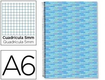 Cuaderno espiral liderpapel a6 micro multilider tapa forrada 140h 80 gr cuadro 5mm 5 bandas celeste