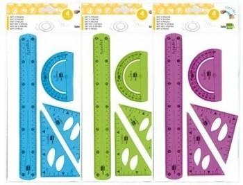 Juego escuadra 10 cm cartabon 14 cm regla 30 cm y semicirc. plastico flexible en petaca liderpapel c