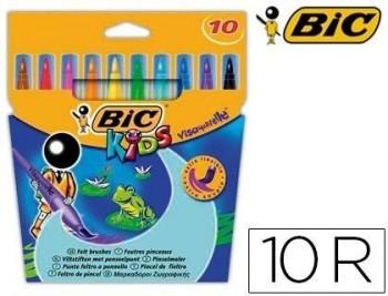 Rotulador bic kids visaquarelle estuche de 10 colores punta pincel tinta base de agua