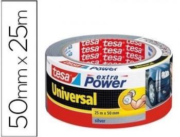 Cinta adhesiva tesa americana 25 mt x 50 mm extra power color plata