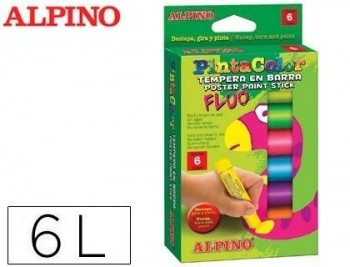 Tempera en barra alpino pintacolor caja de 6 colores fluor surtidos